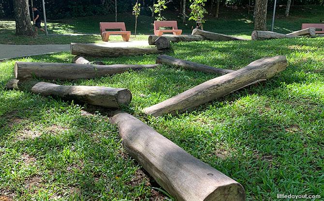 Balancing logs at the Nature Playgarden
