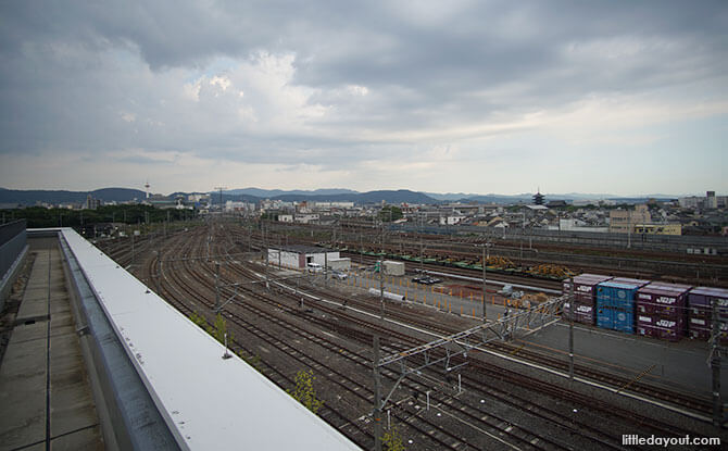 Railway tracks next to the Kyoto Railway Museum