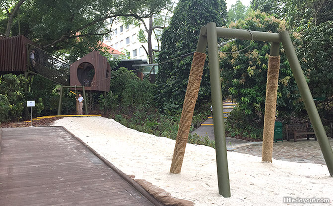 Flying Fox at Forest Zone at Jacob Ballas Children's Garden New Extension