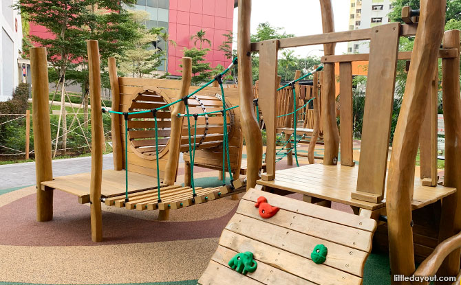 Climbing obstacles at the Clementi Playground