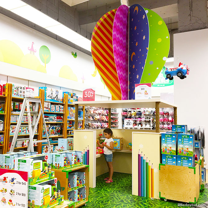 The colourful play station near the entrance of the store is decked with interactive toys from Early Learning Centre.