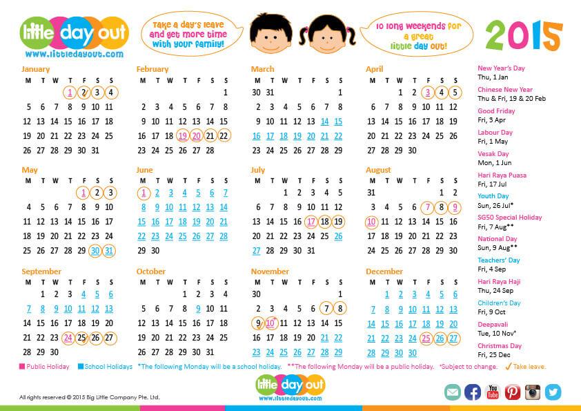 Singapore Public & School Holidays Calendar 2015
