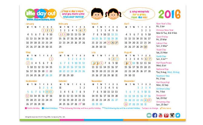 Singapore Public & School Holidays Calendar 2016