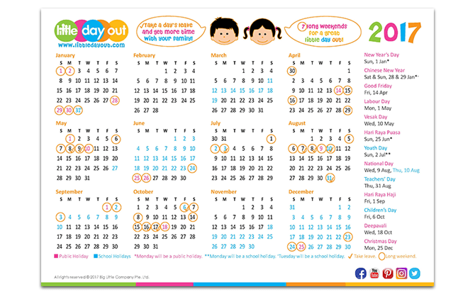 Little Day Out 2017 Singapore Public & School Holiday Calendar