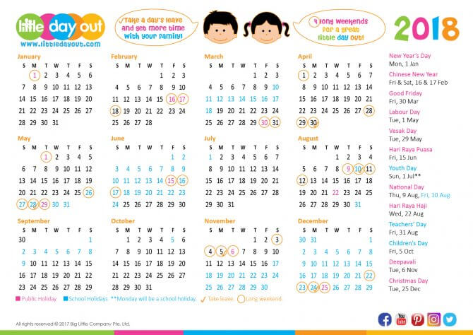 Singapore Public Holidays School Holidays 2018 Little Day Out