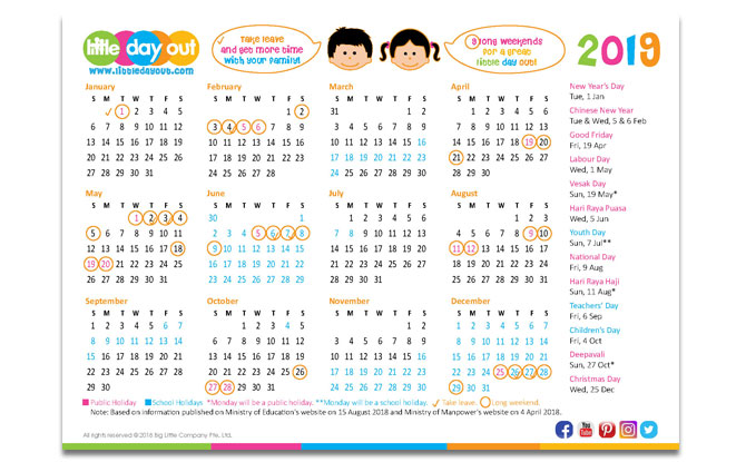 Singapore Public & School Holidays Calendar 2019