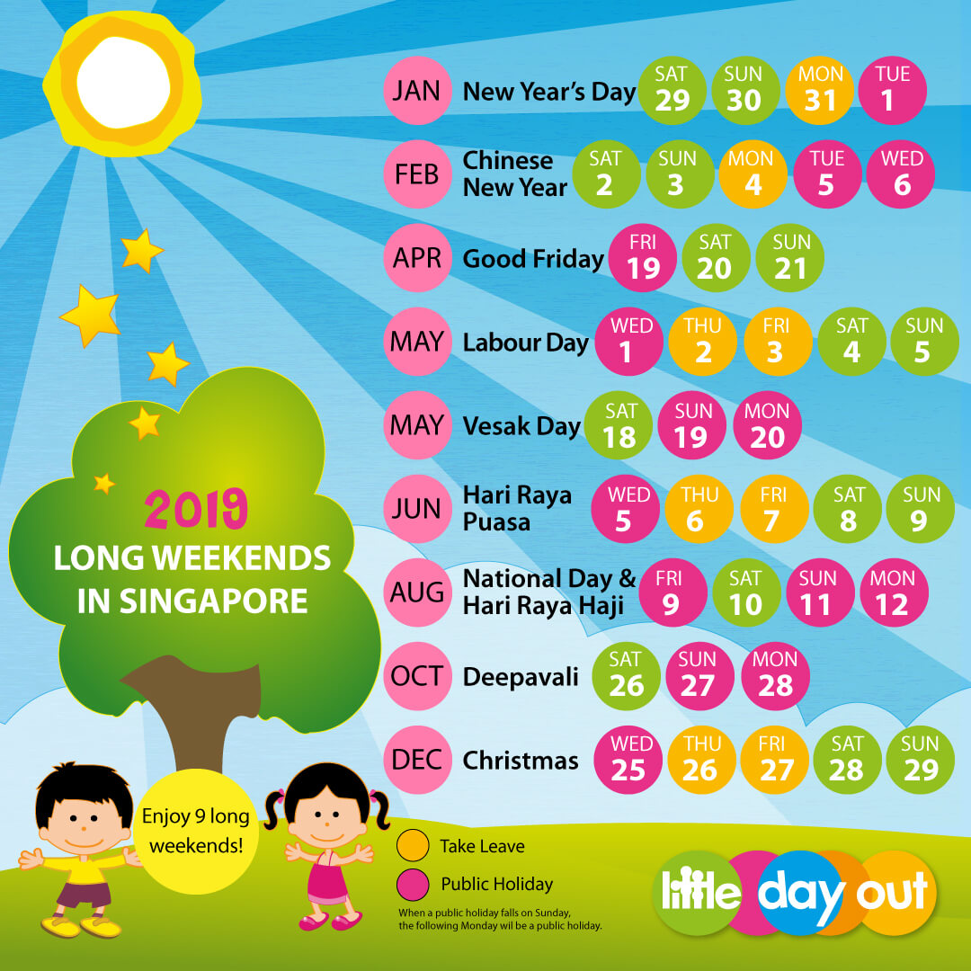 Singapore Public Holidays & Long Weekends 2019