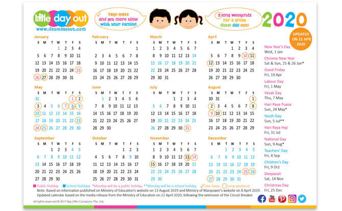 Updated Circuit Breaker 2020 LDO Calendar for Schools and Public Holidays