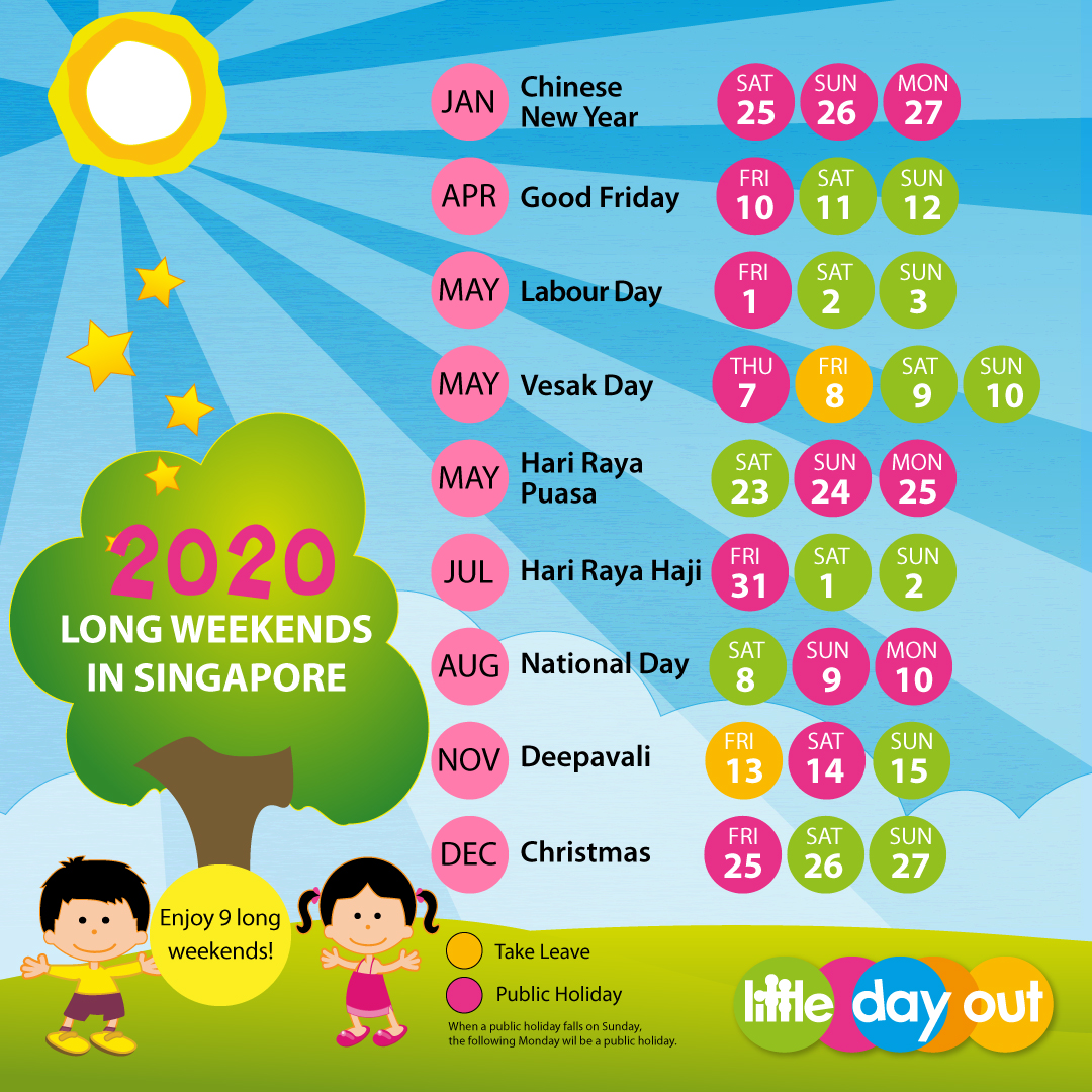 Little Day Out's Singapore Public Holidays & Long Weekends Planner 2020