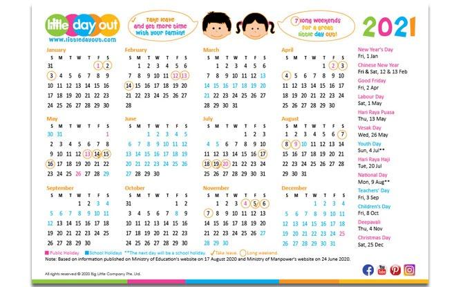 2021 LDO Calendar for Schools and Public Holidays