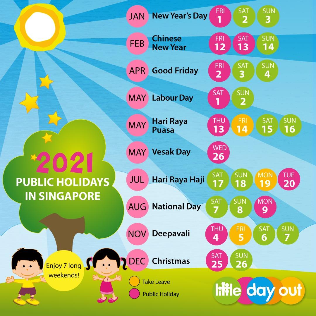 Singapore Public Holidays & School Holidays Calendar 2021