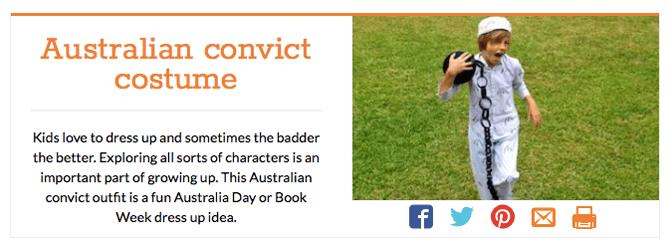 Convict Costume, Kidspot