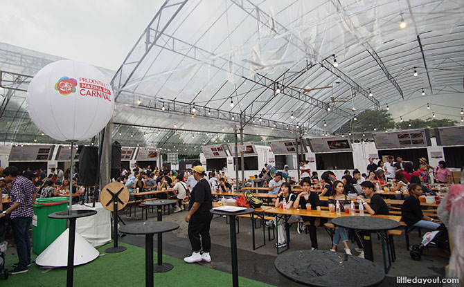 Food area at the Prudential Marina Bay Carnival 2018 to 2019