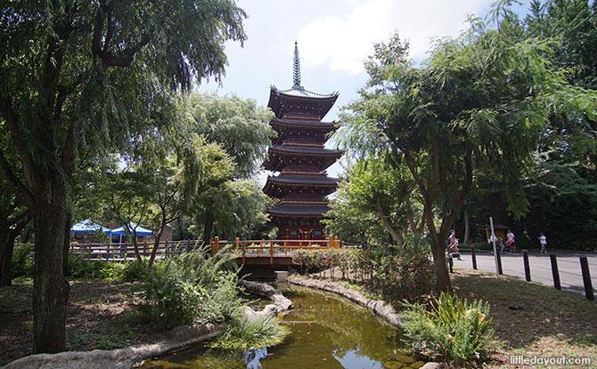 Pagoda in the East Garden of Ueno Zoo, Ueno Park, Tokyo