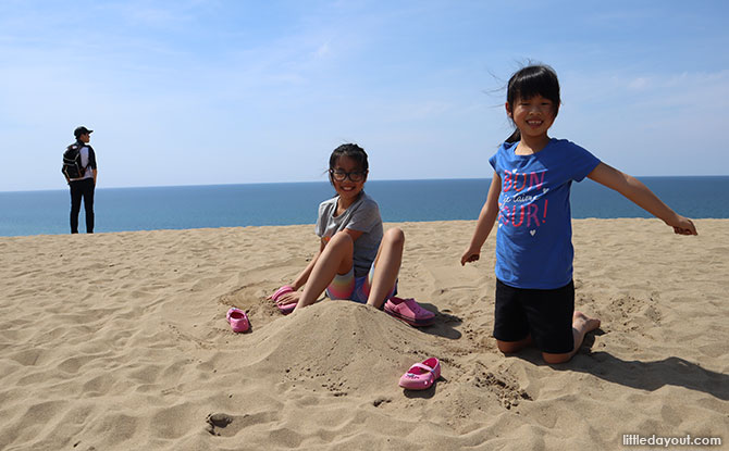 Playing at the Sand Dunes in Japan