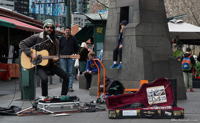 Buskers contribute to the lively atmosphere at Melbourne's Queen Victoria Market.