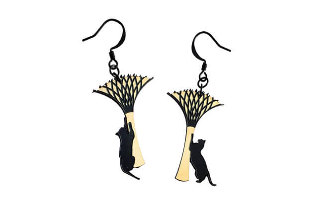 Supertree Cat Earrings $20, from alfiedemeow.com