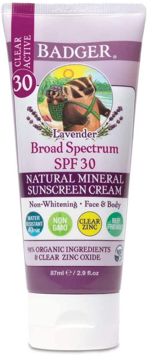 Badger Lavender Natural Mineral Sunscreen Cream