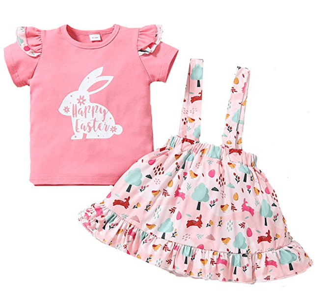 Toddler Girls Short Suit Bunny Egg Outfit