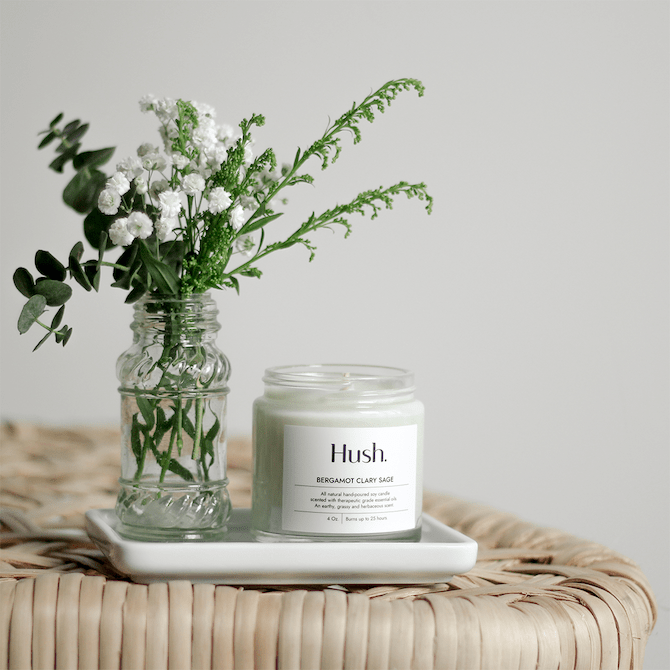 Hush Bergamot Clary Sage Essential Oil Candle