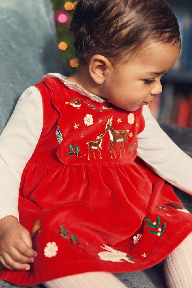 Boden Red Christmas Velvet Dress
