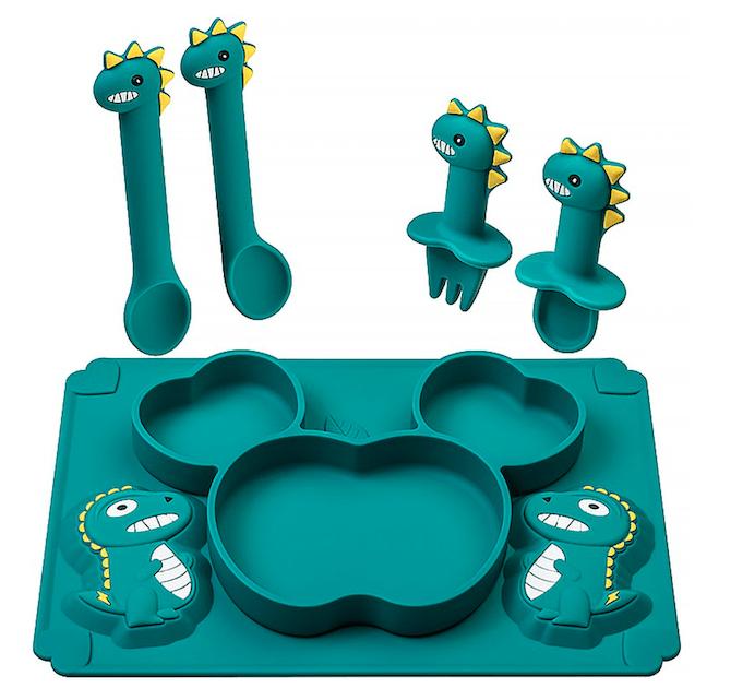 Cartoon Dinosaur Food Grade Silicone Tableware Anti-drop