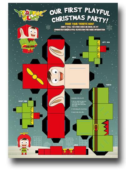 Playful Elves' Christmas Party Craft Sheet