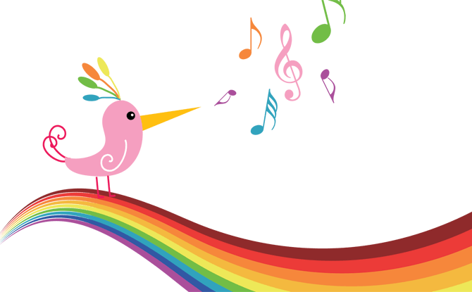 Music notes rainbow bird