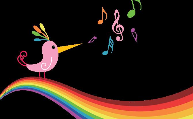 Music notes rainbow bird