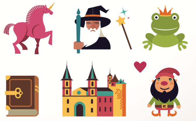 Generic fairytale castle wizard unicorn