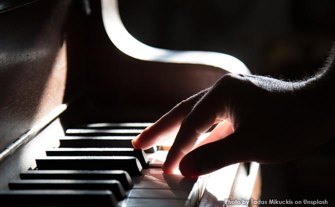 Generic piano keys closeup fingers 3