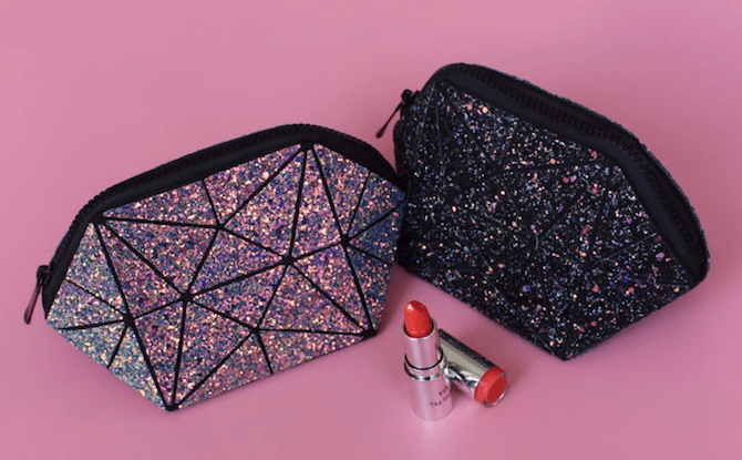 Glitter Shell Geometric Shape Cosmetic Bag