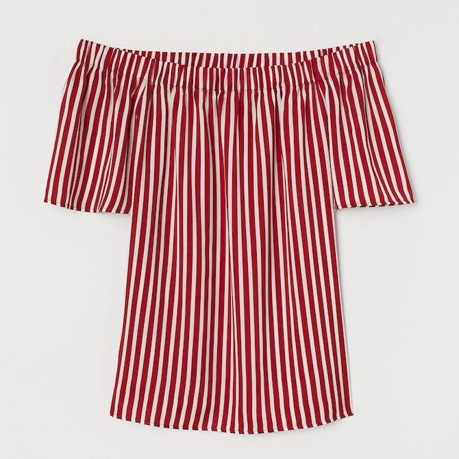 H&M off-shoulder striped blouse