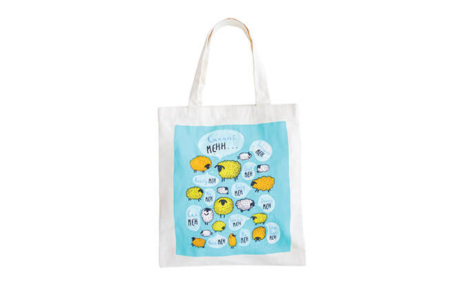 Happy Meh Meh Totebag $24, from shop.wheniwasfour.com