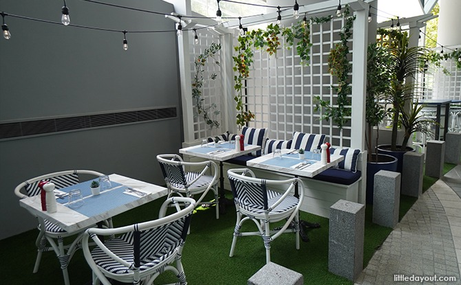 Outdoor area at So France restaurant