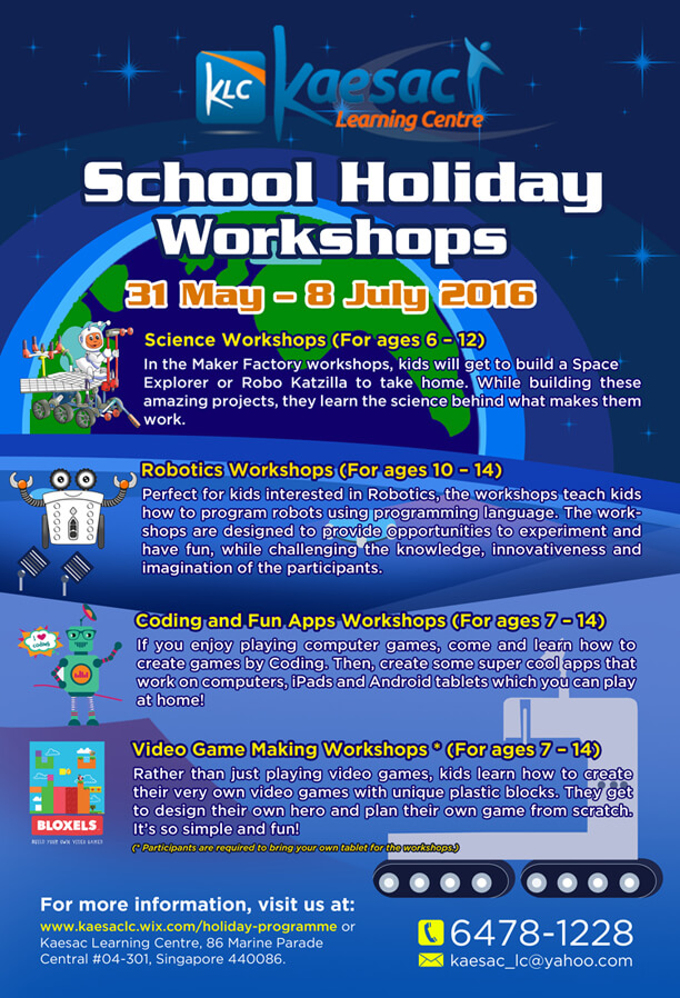 Kaesac Learning Centre School Holiday Workshops May to July 2016