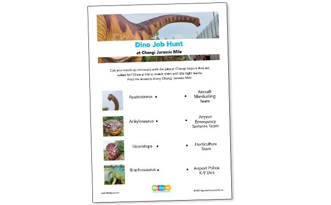 Downloadable Jurassic Mile Activity Sheet
