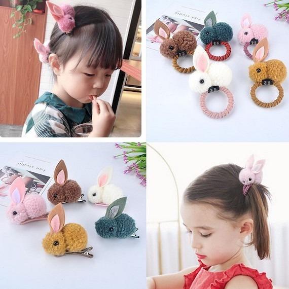 Korean Cute Ball Rabbit Hair Ties and Clips