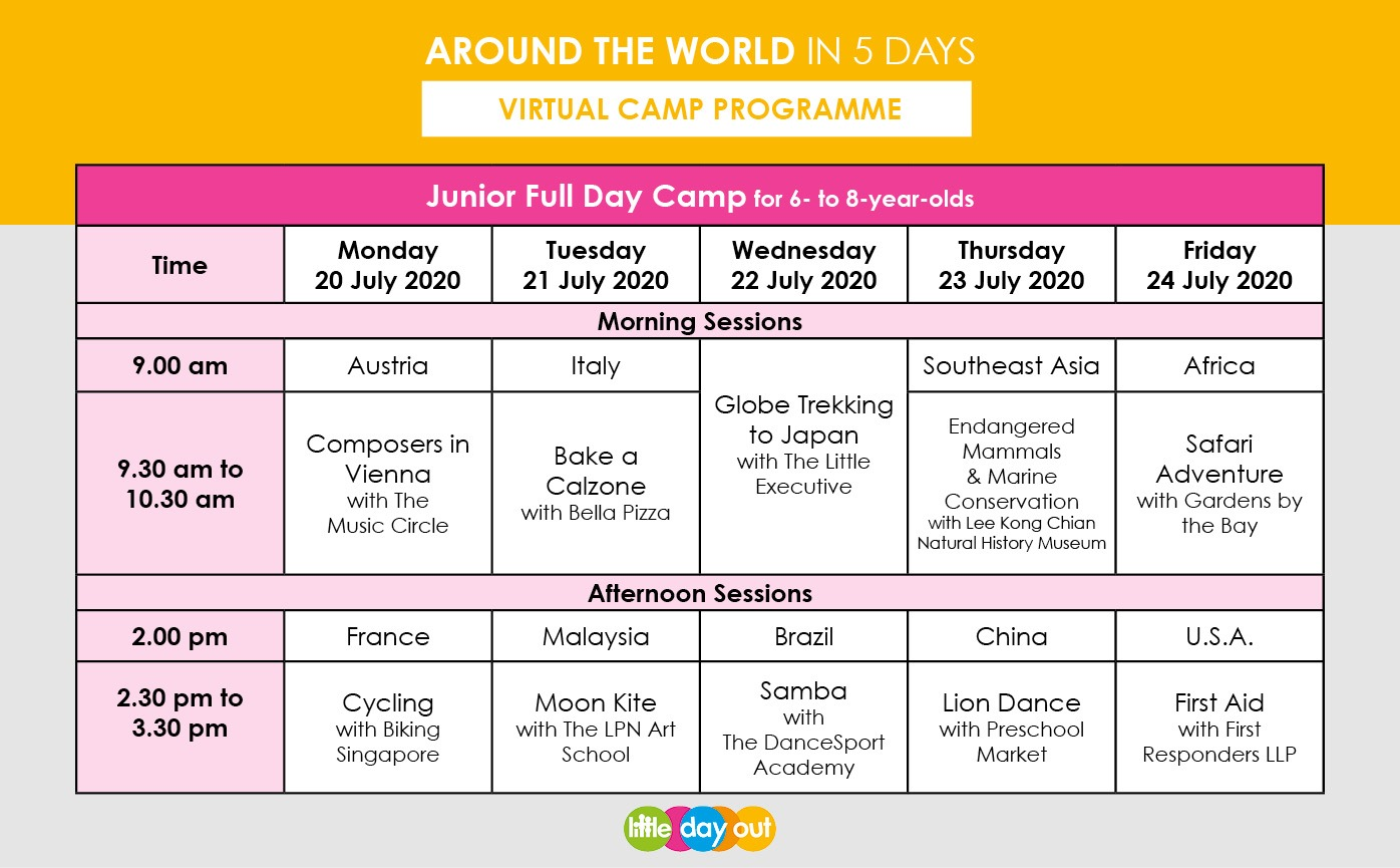 Little Day Out's Around the World in 5 Days Junior Camp Programme