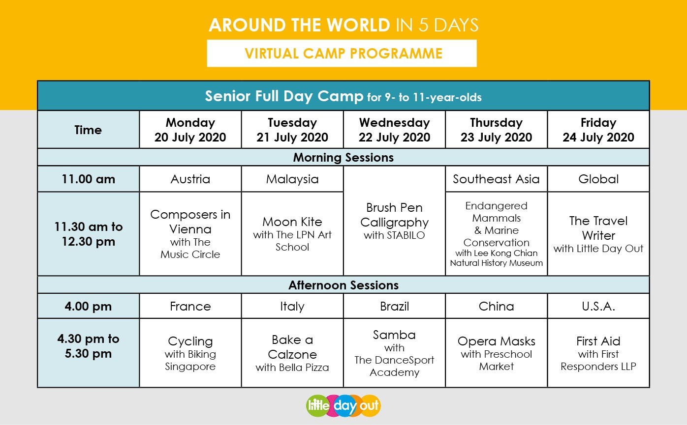 Little Day Out's Around the World in 5 Days Senior Camp Programme
