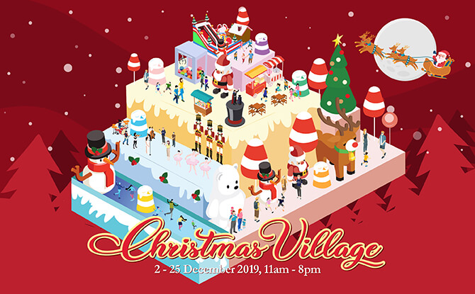 Aperia Mall's Christmas Village Features An Ice Rink, Inflatable Obstacle Course, Human Claw Machine And More!
