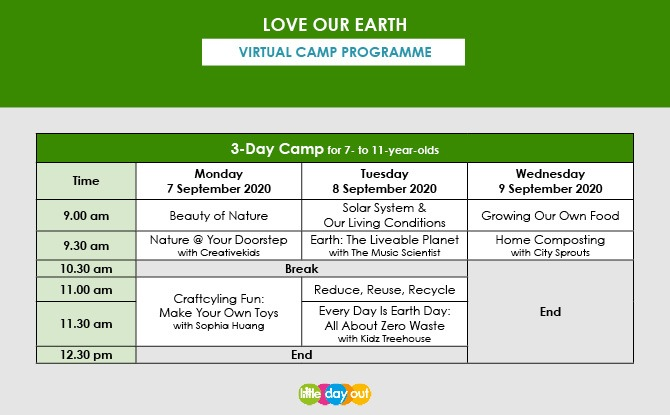 Super September Holiday Virtual Camps 2020: Love Our Earth Programme
