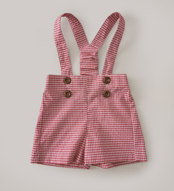 Little Happy Haus Boys Red Gingham Overall