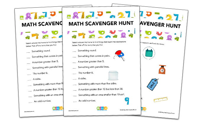 Math Scavenger Hunt Templates