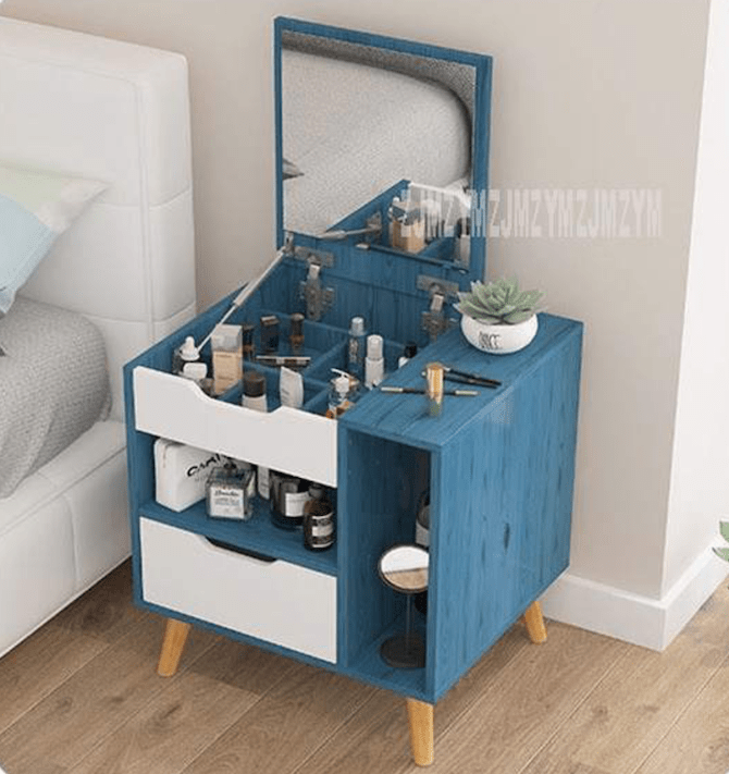 Nordic Modern Dressing Table With Mirror Drawer