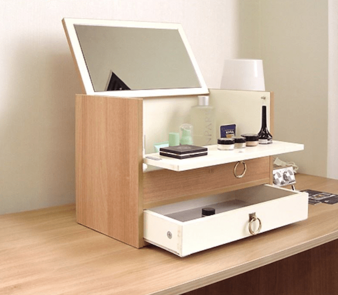 Portable Tabletop Cosmetic Organizer with Mirror