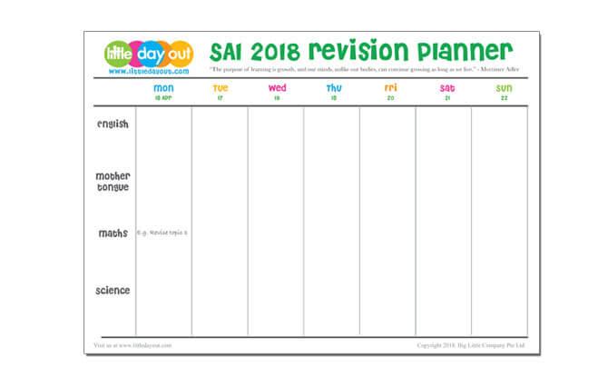 SA1 2018 Revision Planner