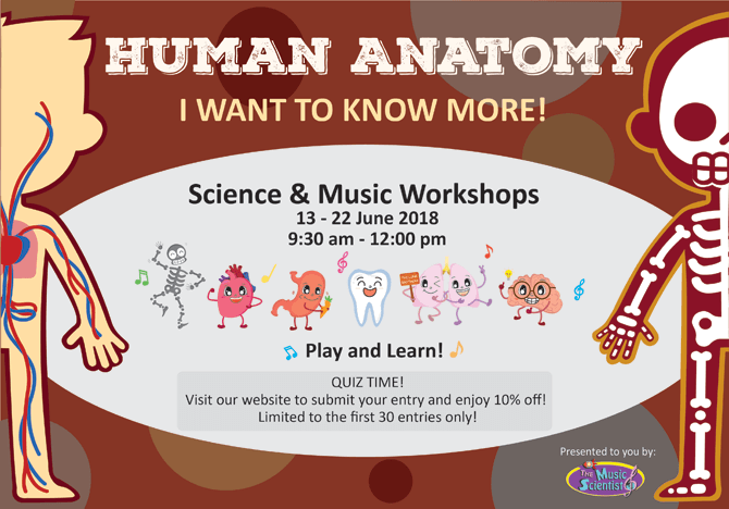 The Music Scientist's Human Anatomy Science and Music Workshops - June School Holidays 2018