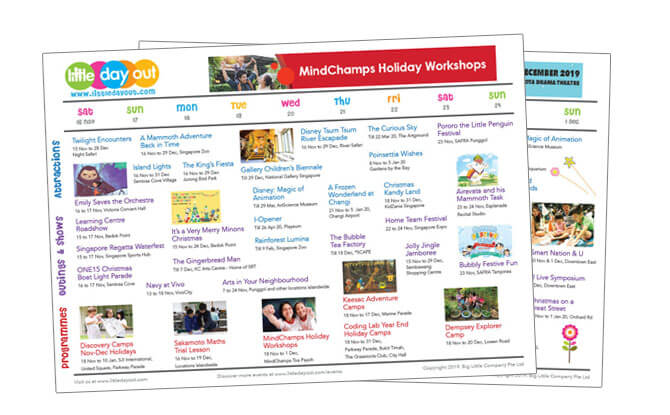 Little Day Out's Guide to the 2019 Year-end School Holidays in Singapore