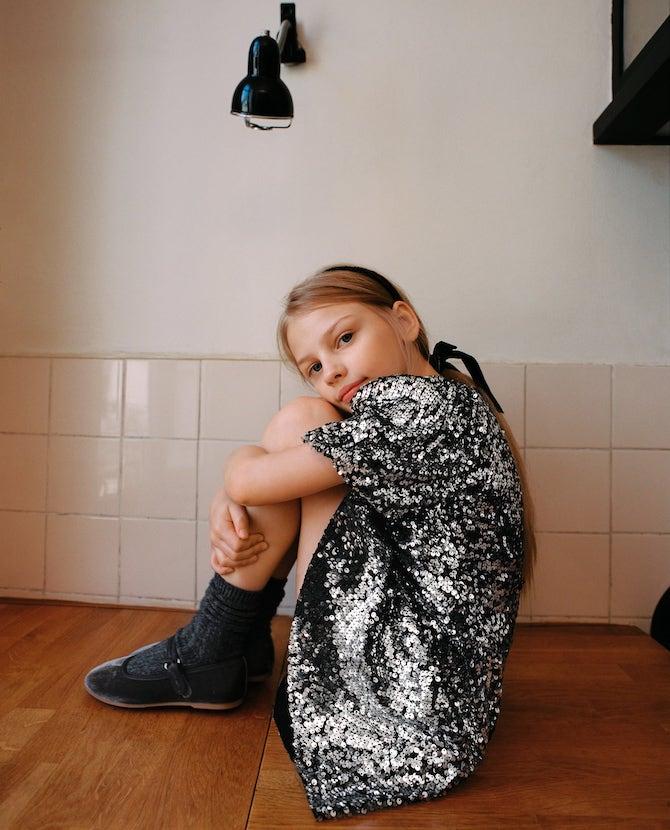 Zara Girls Silver Sequinned Dress